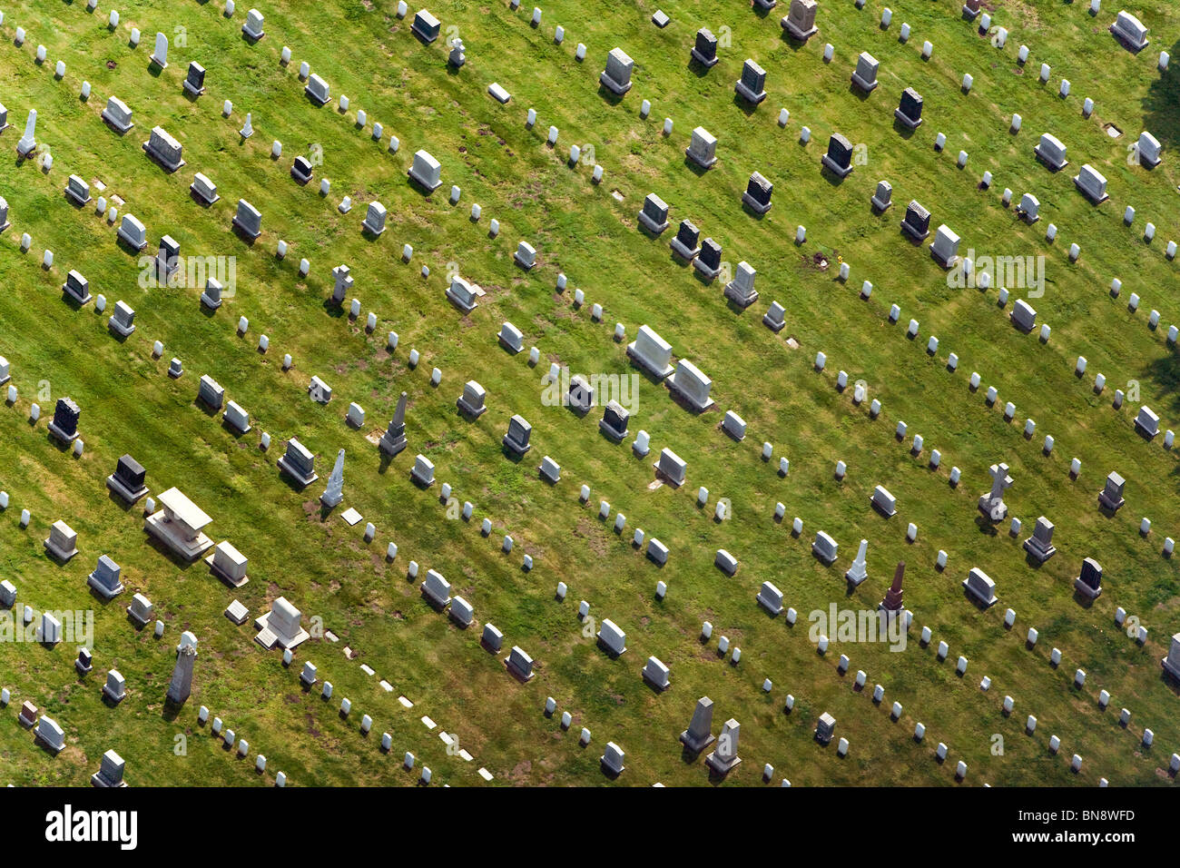 aerial above National Cemetery San Francisco Presidio California - Stock Image