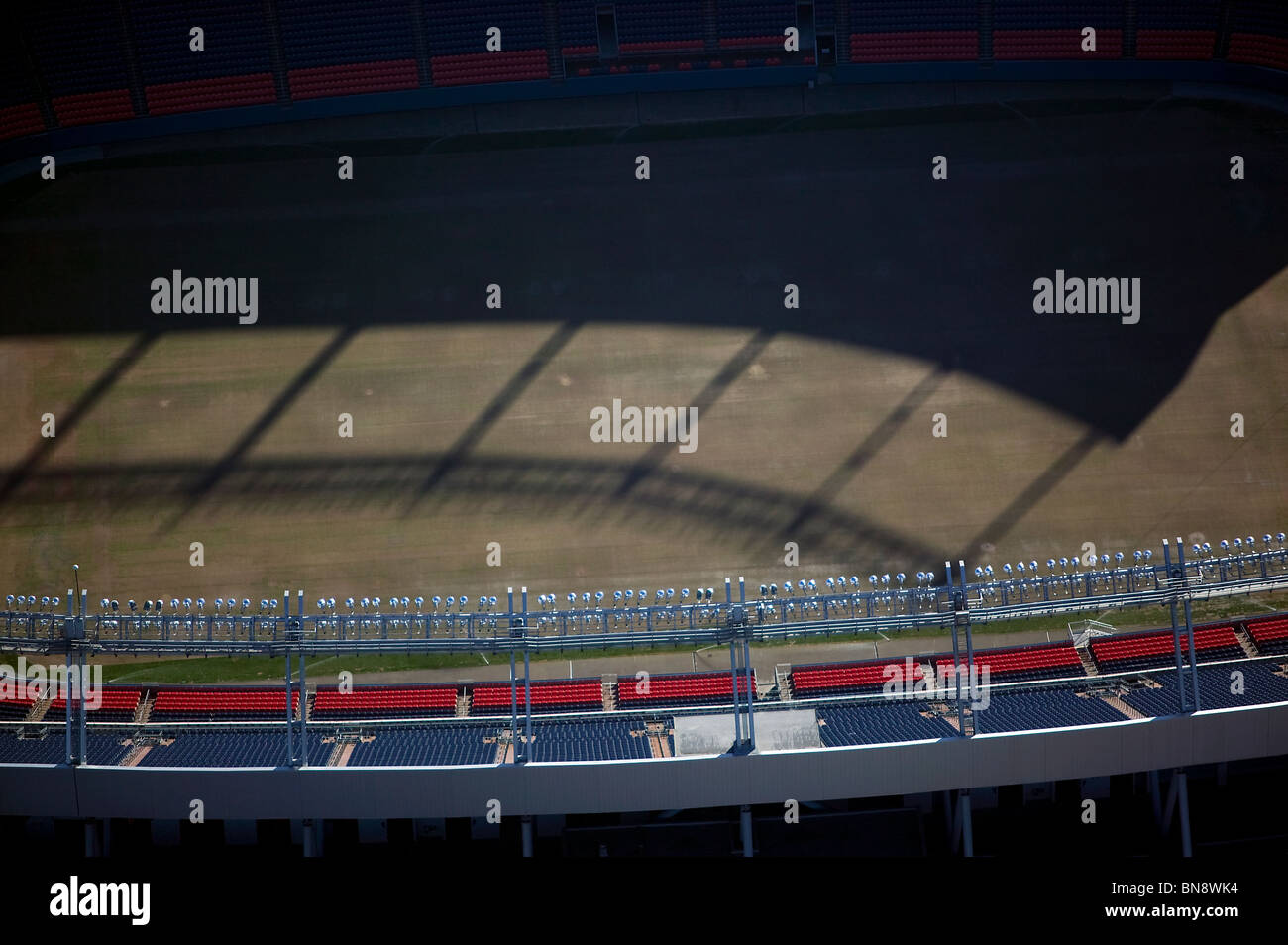 aerial view above stadium lighting top of INVESCO Field at Mile High Denver Colorado - Stock Image