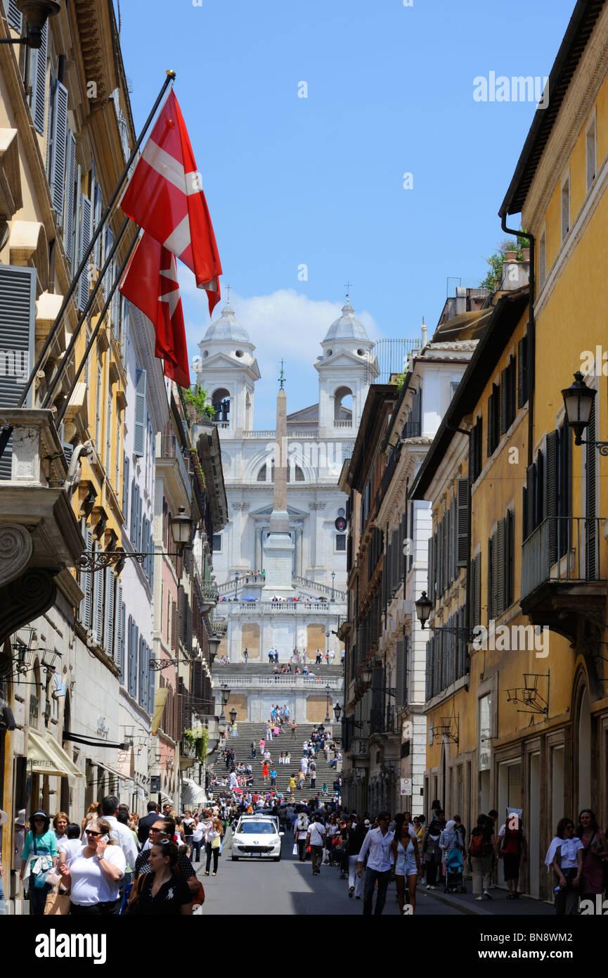 The Spanish Steps and Trinita di Monti viewed from Via Condotti, Monte Pincio, Rome - Stock Image