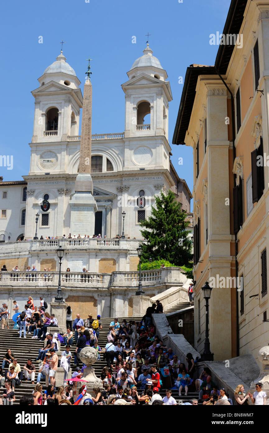 The Spanish Steps, and Trinita di Monti, Monte Pincio, Rome - Stock Image
