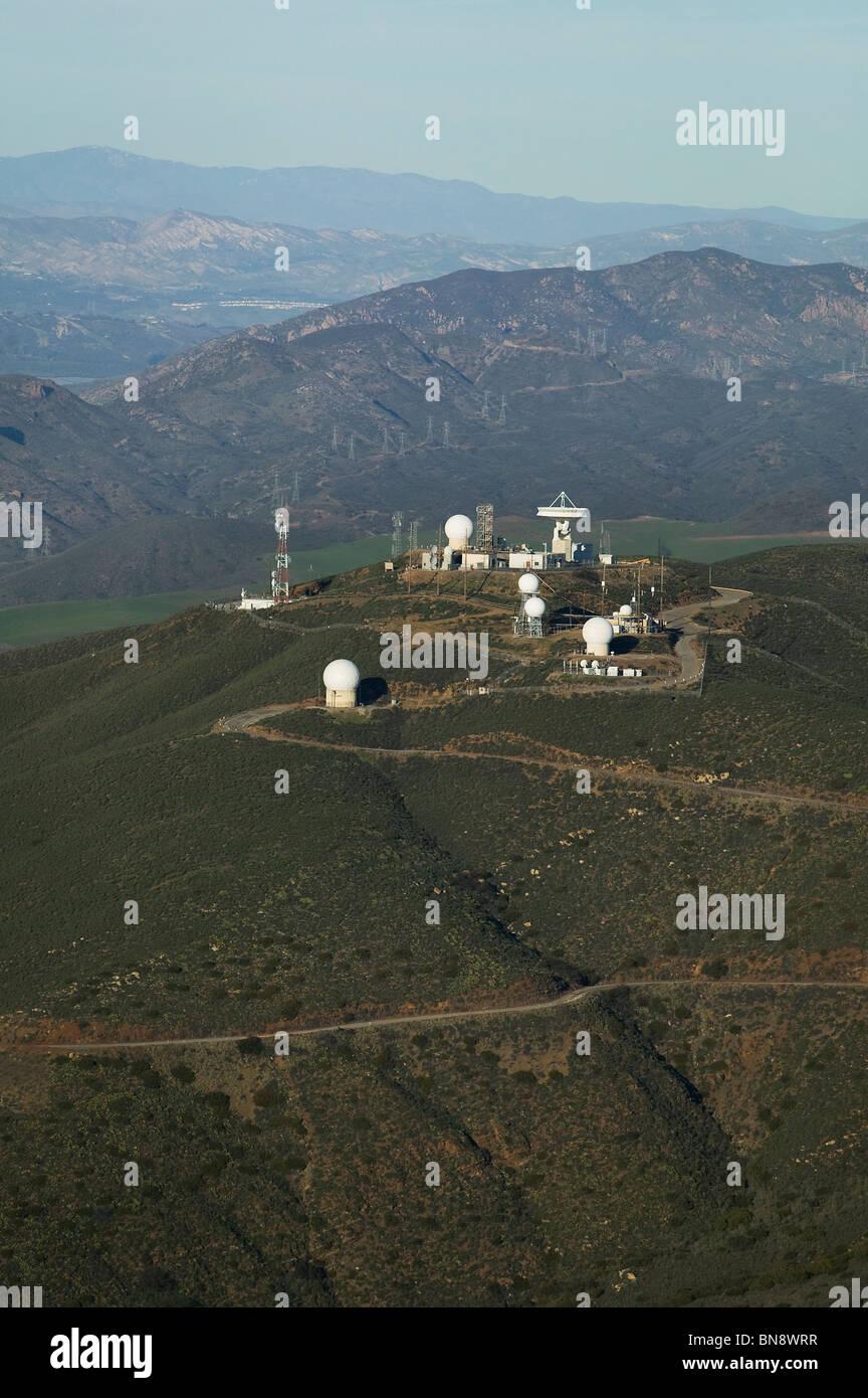 aerial view above telecommunications radar cellular equipment Santa Ynez mountains near Santa Barbara California - Stock Image