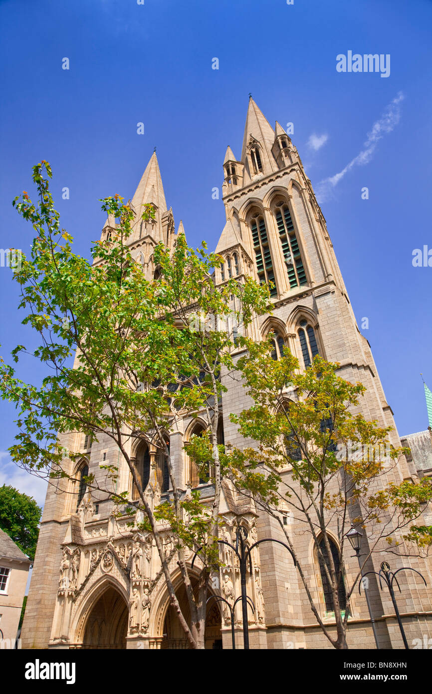 Truro cathedral front facade, Cornwall, UK, summers day, blue sky. - Stock Image