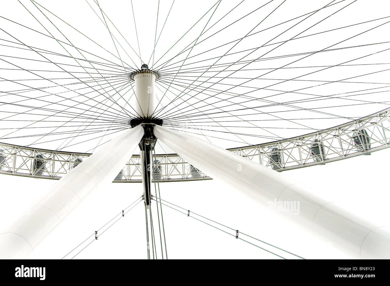 High contrast image of The London Eye from an unusual angle. - Stock Image