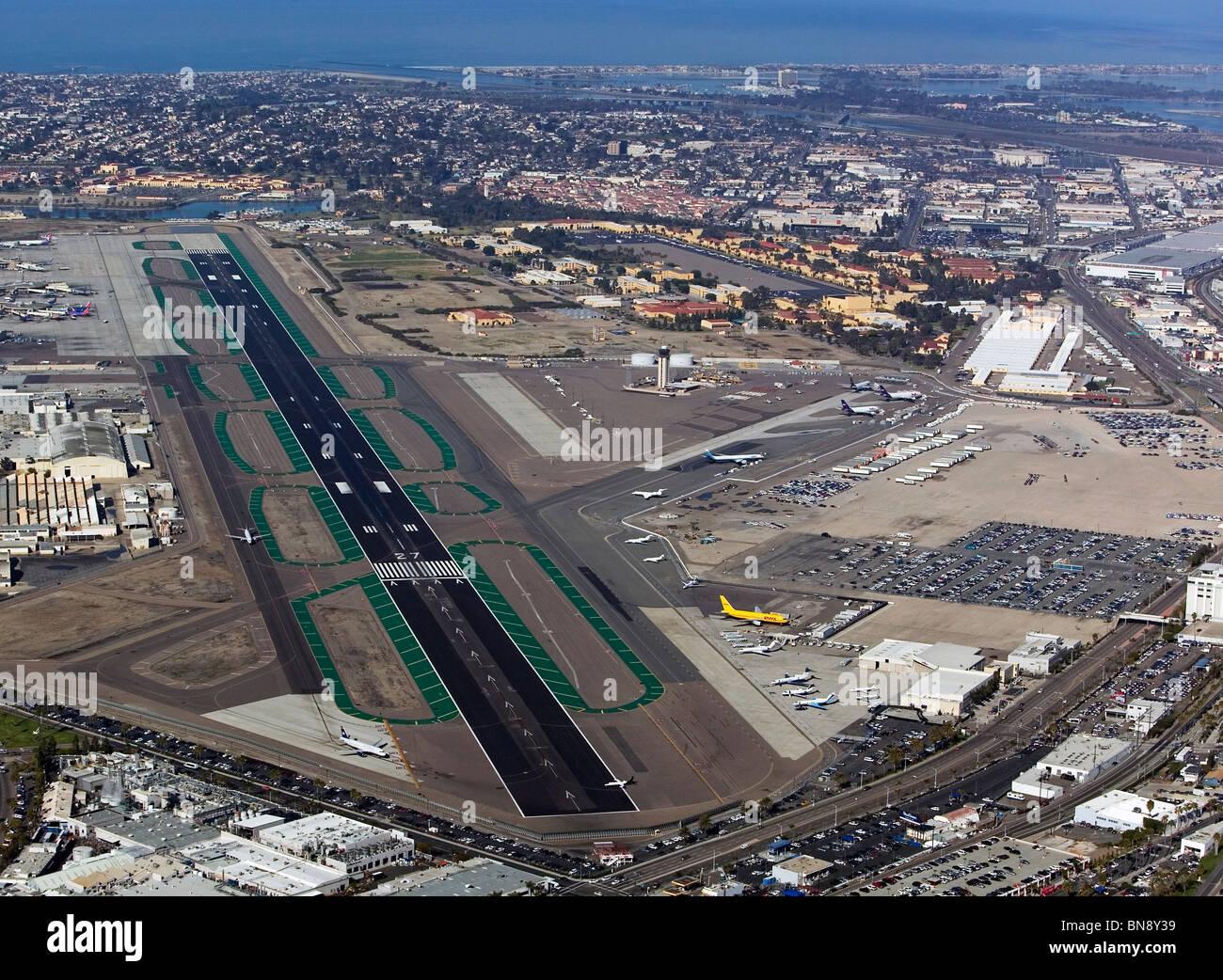 aerial view above lindbergh field san diego international airport