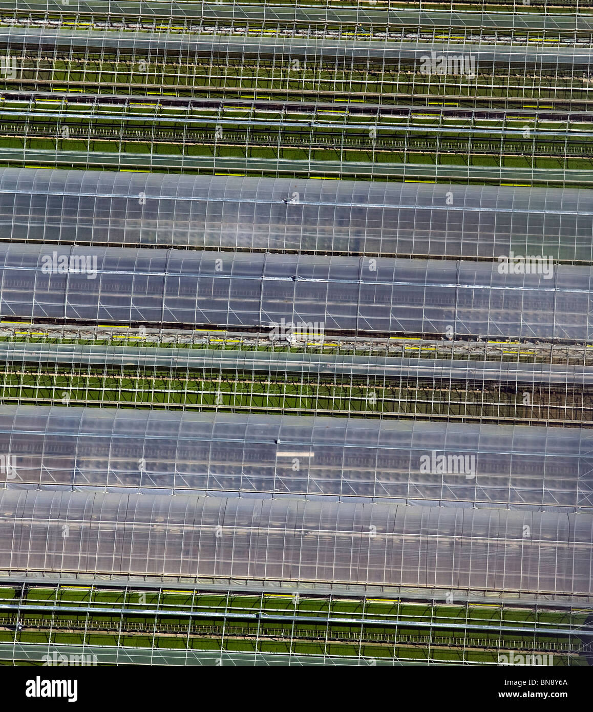 aerial view above greenhouses central California coast - Stock Image