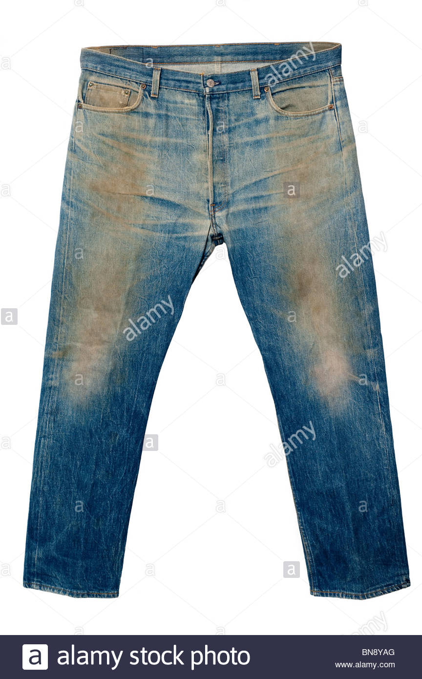 Dirty pair of old 1970's Levi's 501 xx Jeans, this person obviously used these as work jean and never washed - Stock Image