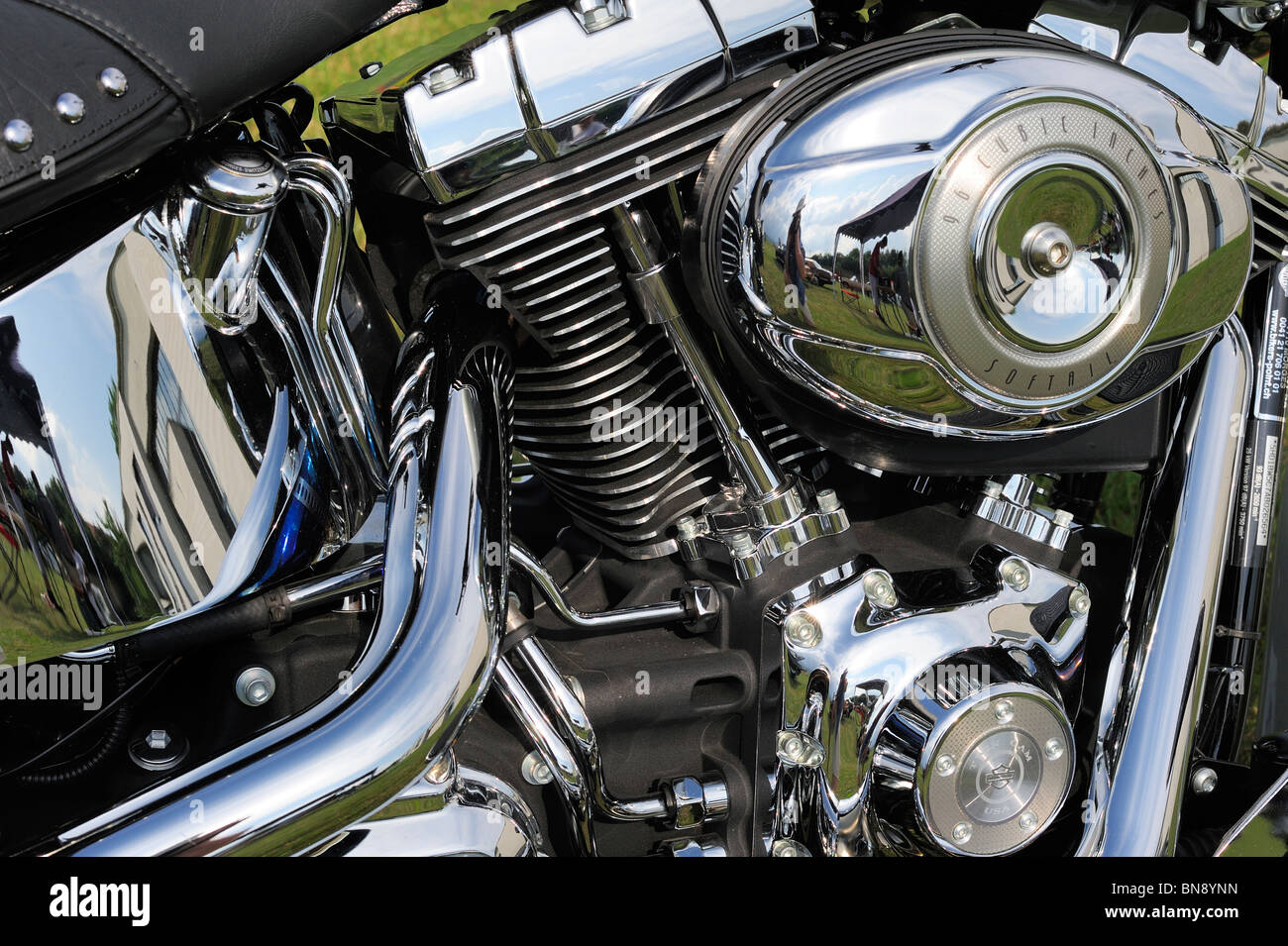 Close up detail of the engine of a Harley Davidson motorcycle. - Stock Image