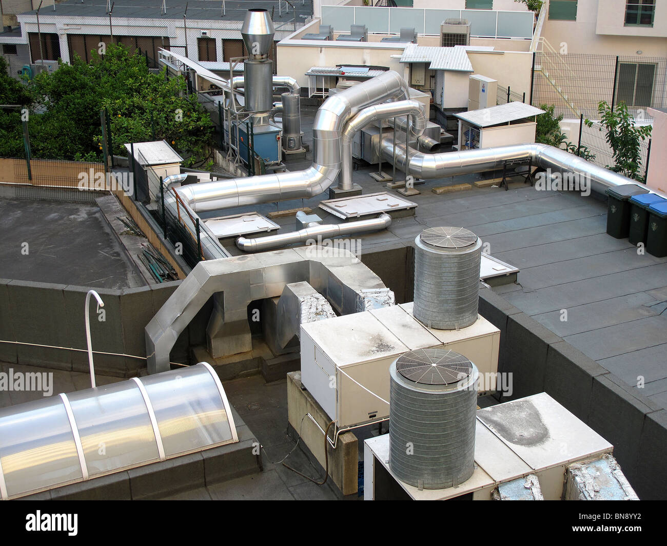 Rooftop Units Duct : Rooftop hvac air handling units in lisbon portugal stock