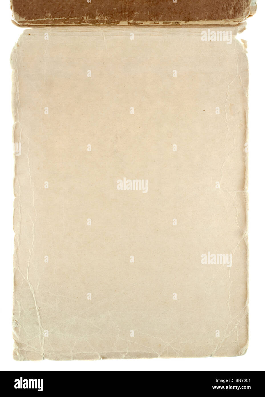 Old grungy notepad isolated on white - Stock Image