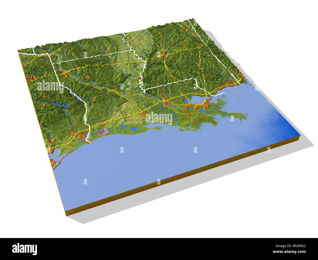 Louisiana 3D relief map with urban areas interstate highways and