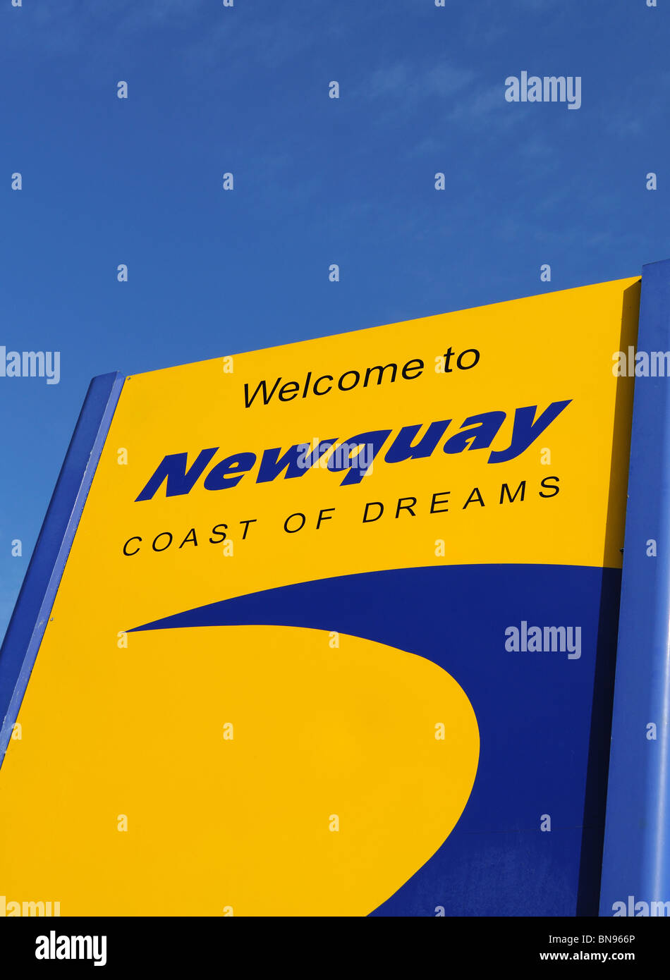 welcome sign at newquay, cornwall, uk - Stock Image