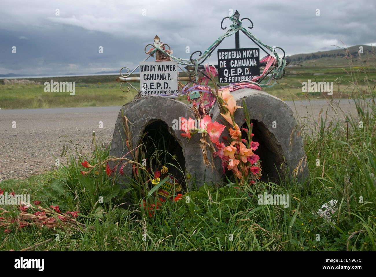 Roadside shrine to people killed in a traffic accident Stock Photo