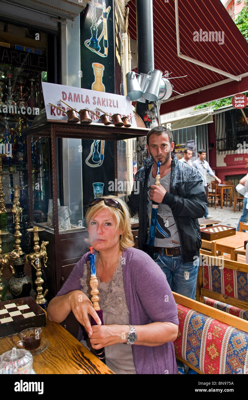 Turkey Istanbul smoking water pipe tourist - Stock Image