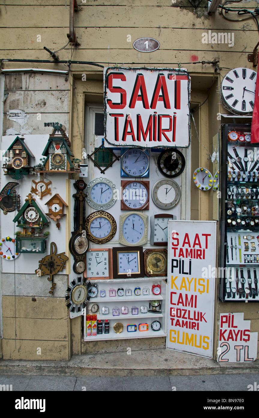 Istanbul Turkey Kadadikoy Market clock timepiece - Stock Image