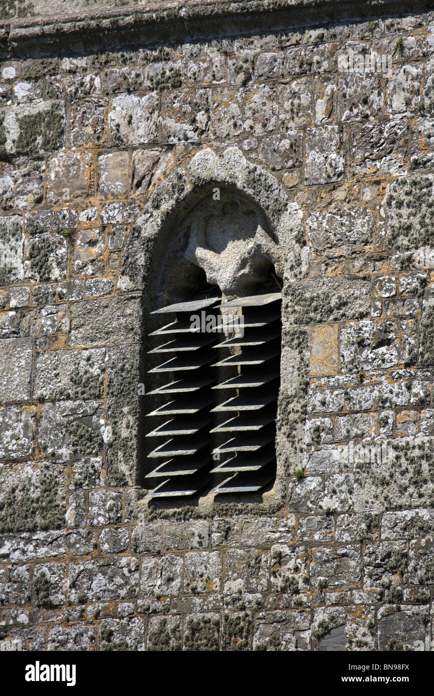 Church Architectural Features; Slates used as sound deflectors in belfry window - Stock Image