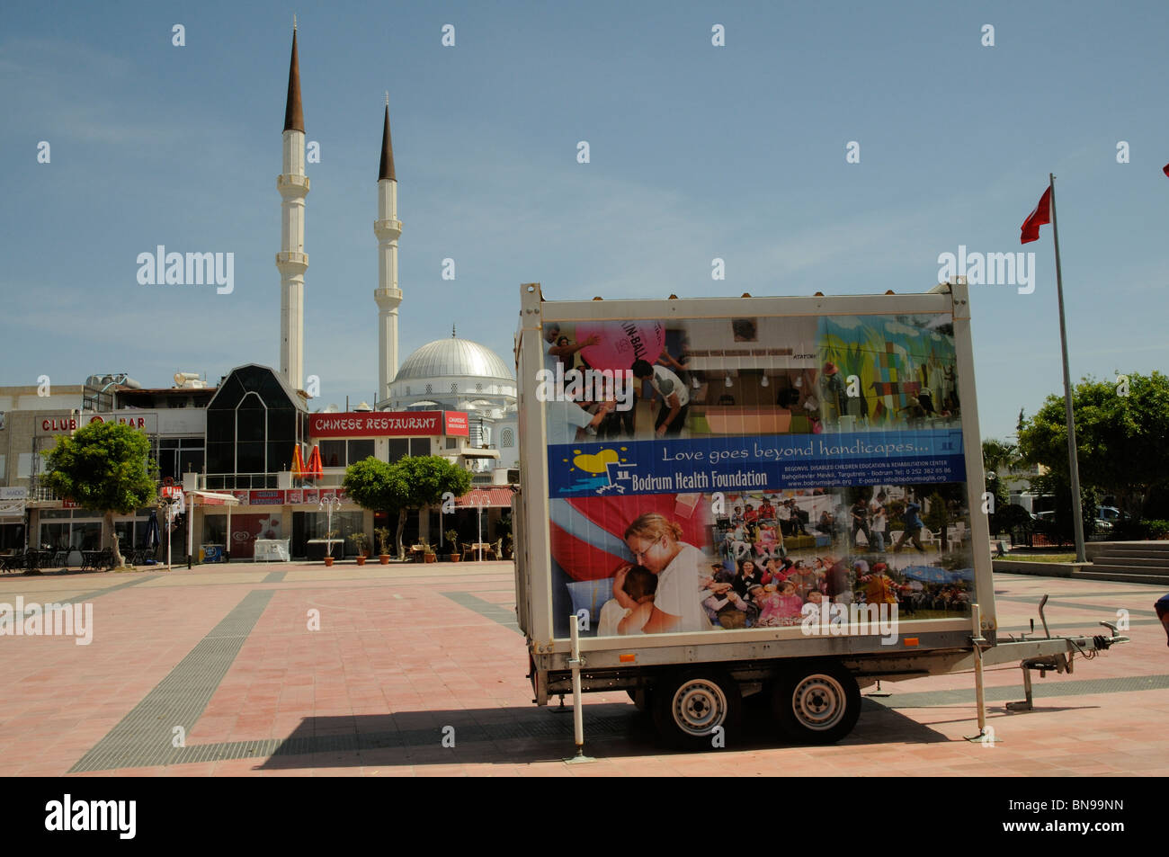 Trailer Advertising A Disabled Childrens Educational Centre Bodrum Health Foundation Seen Here In Turgutries Town Turkey