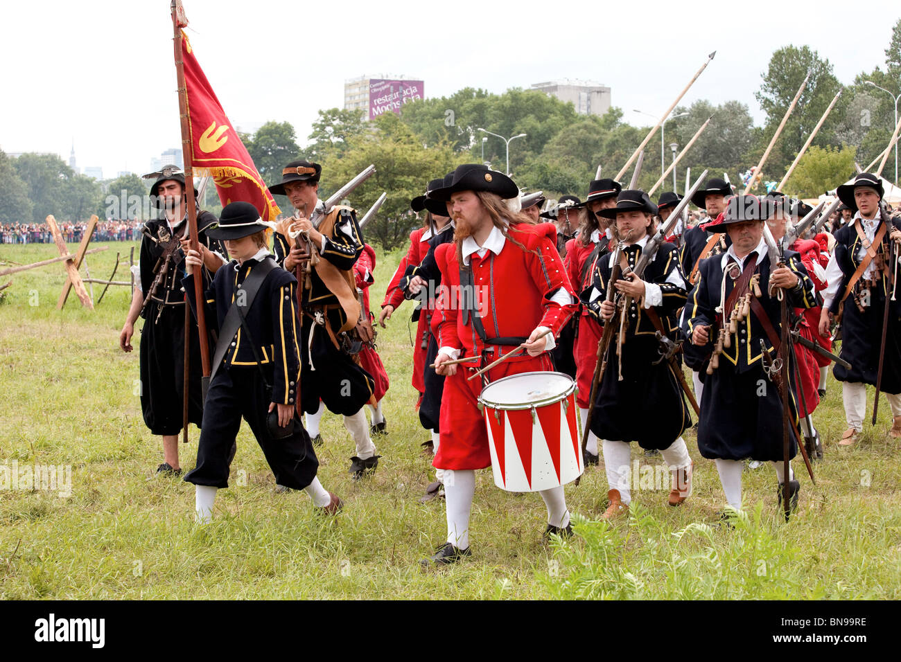 Infrantry squad at Battle of Klushino - 400 years festival in Warsaw, Poland, 3-4 of July 2010. Stock Photo