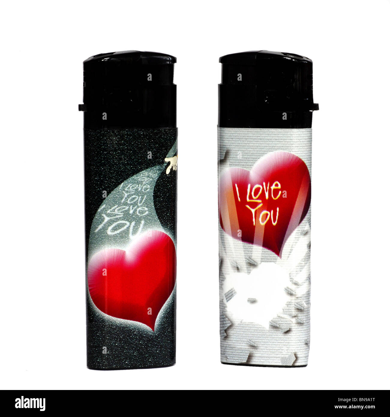 Cigarette Lighters Love Hearts - Stock Image