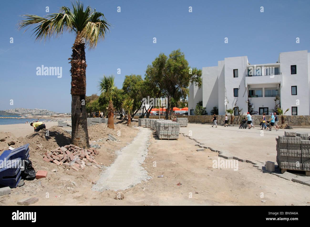 Beachfront building construction work at Turgutries Bodrum Turkey Asia Minor - Stock Image
