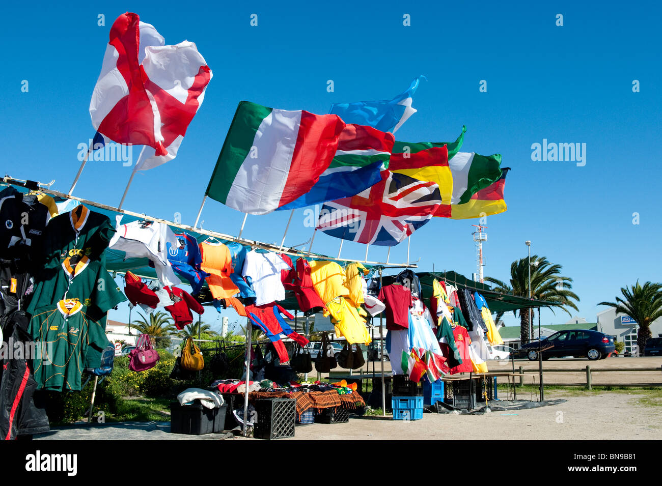 Kiosk with Wold Cup 2010 Utensils in Langebaan Western Cape South Africa - Stock Image