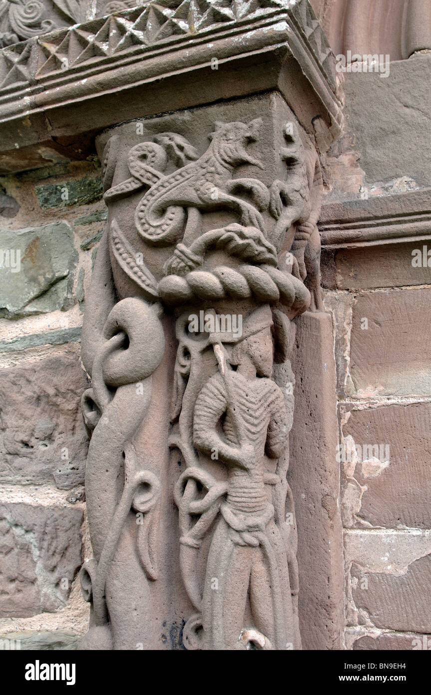 Stone carving on south doorway of st mary and david