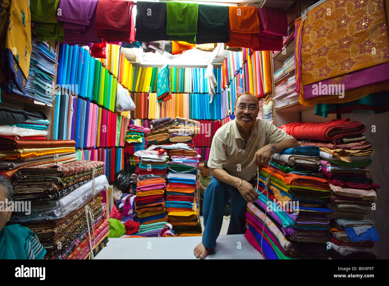 Textile vendors in Katmandu, Nepal - Stock Image