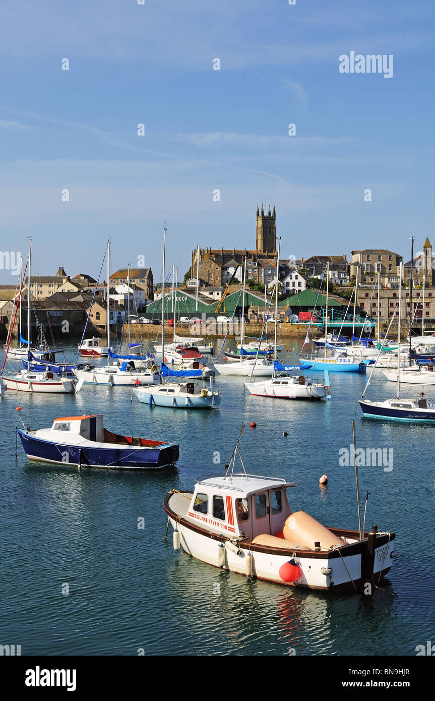 fishing boats in the inner harbour at penzance, cornwall, uk - Stock Image