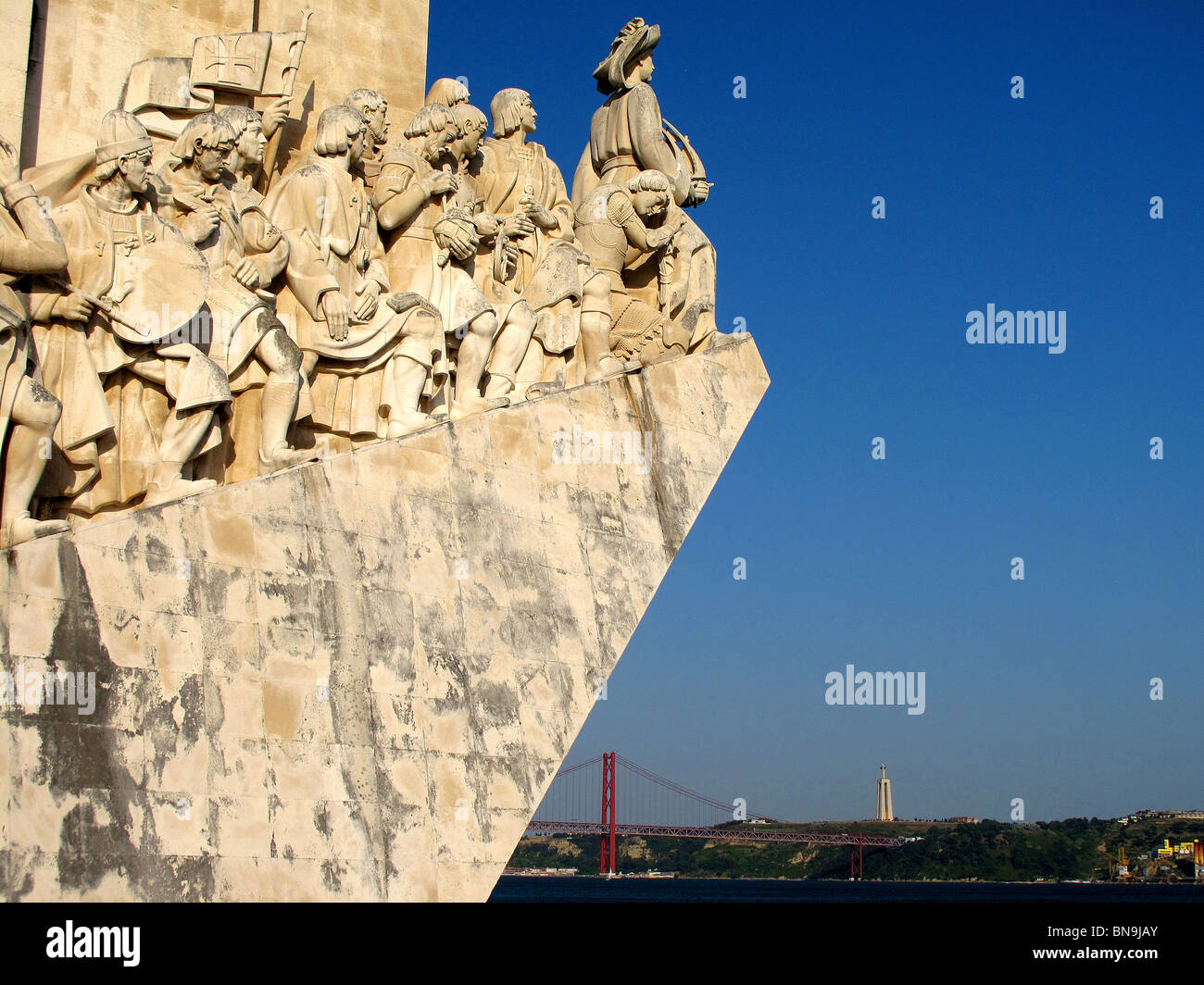 The monument to discoveries on the waterfront at Belem in Lisbon Portugal - Stock Image