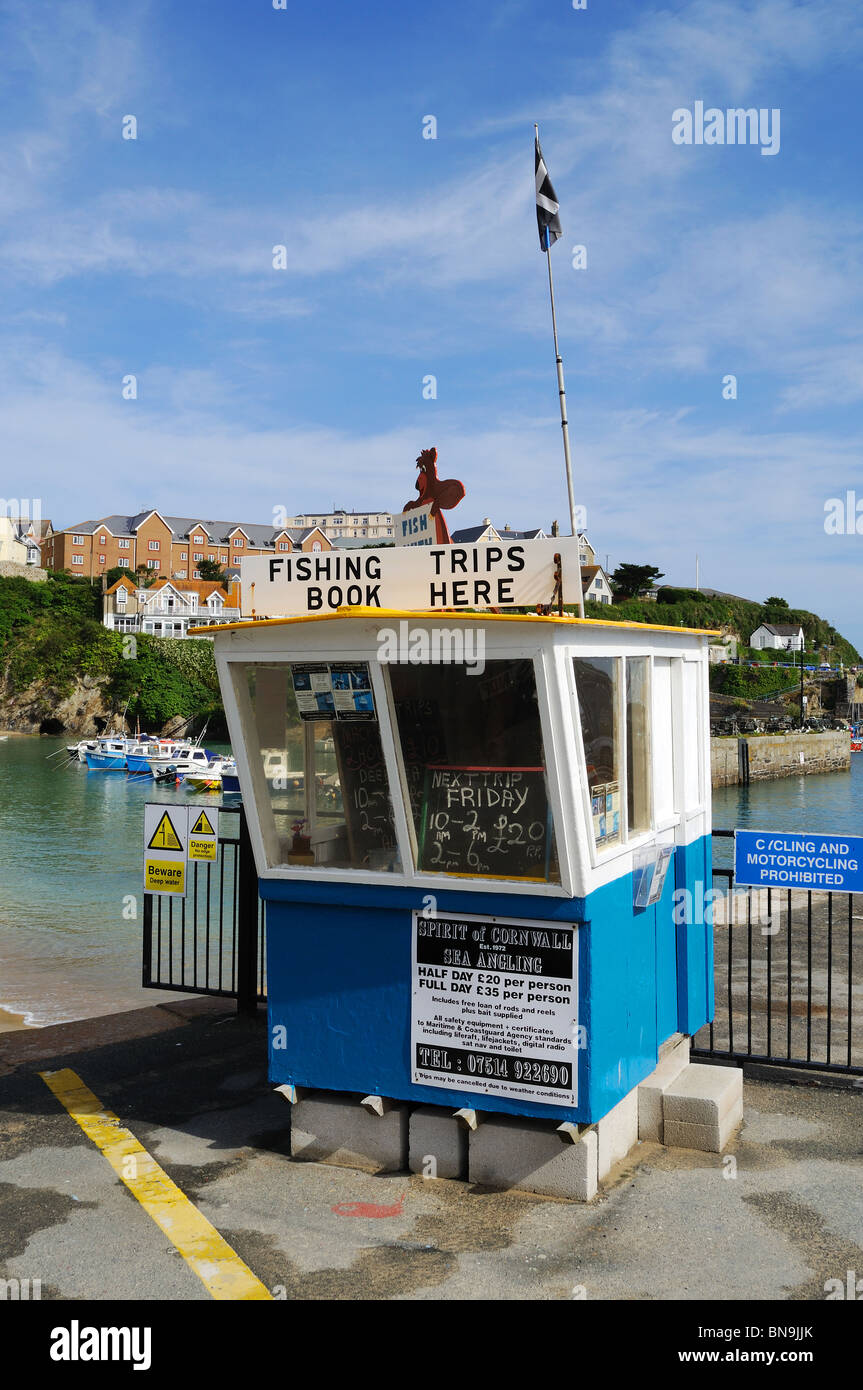the booking office for fishing trips at newquay harbour, cornwall, uk - Stock Image