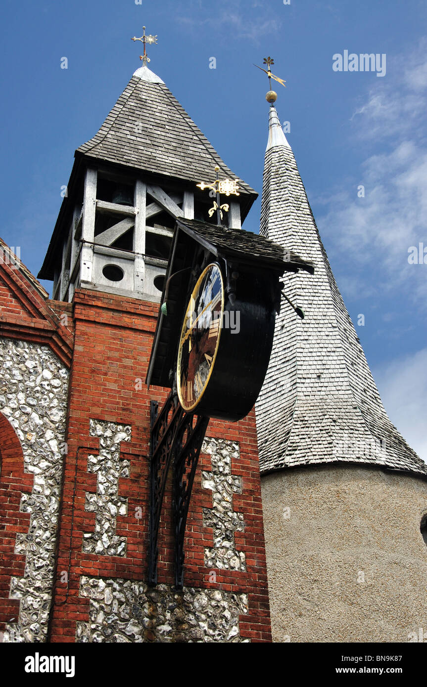 Clock tower of St. Michael-in-Lewes Church, High Street, Lewes, East Sussex, England, United Kingdom Stock Photo