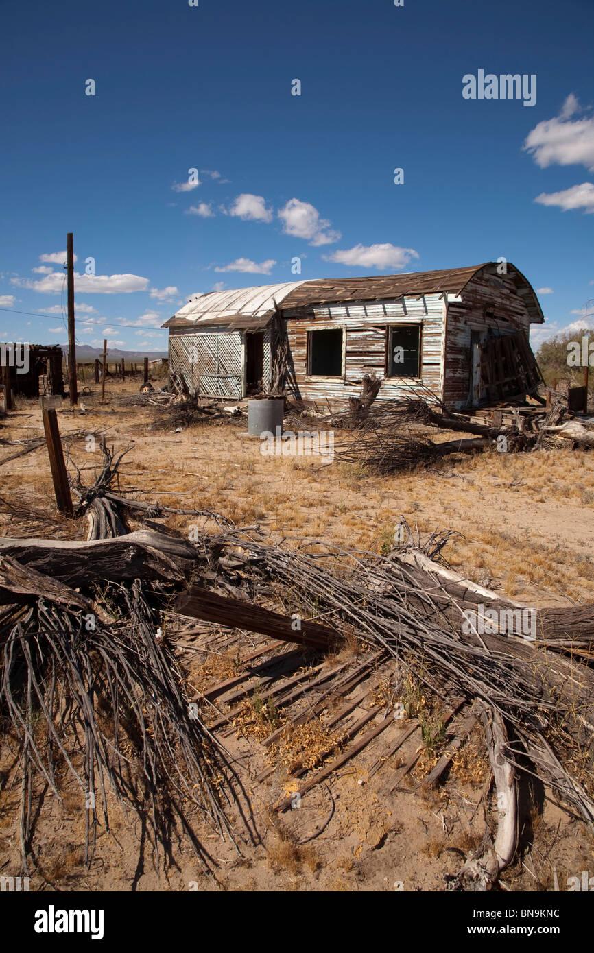 Ruined shack house in the Mojave desert near Kelso in California USA - Stock Image