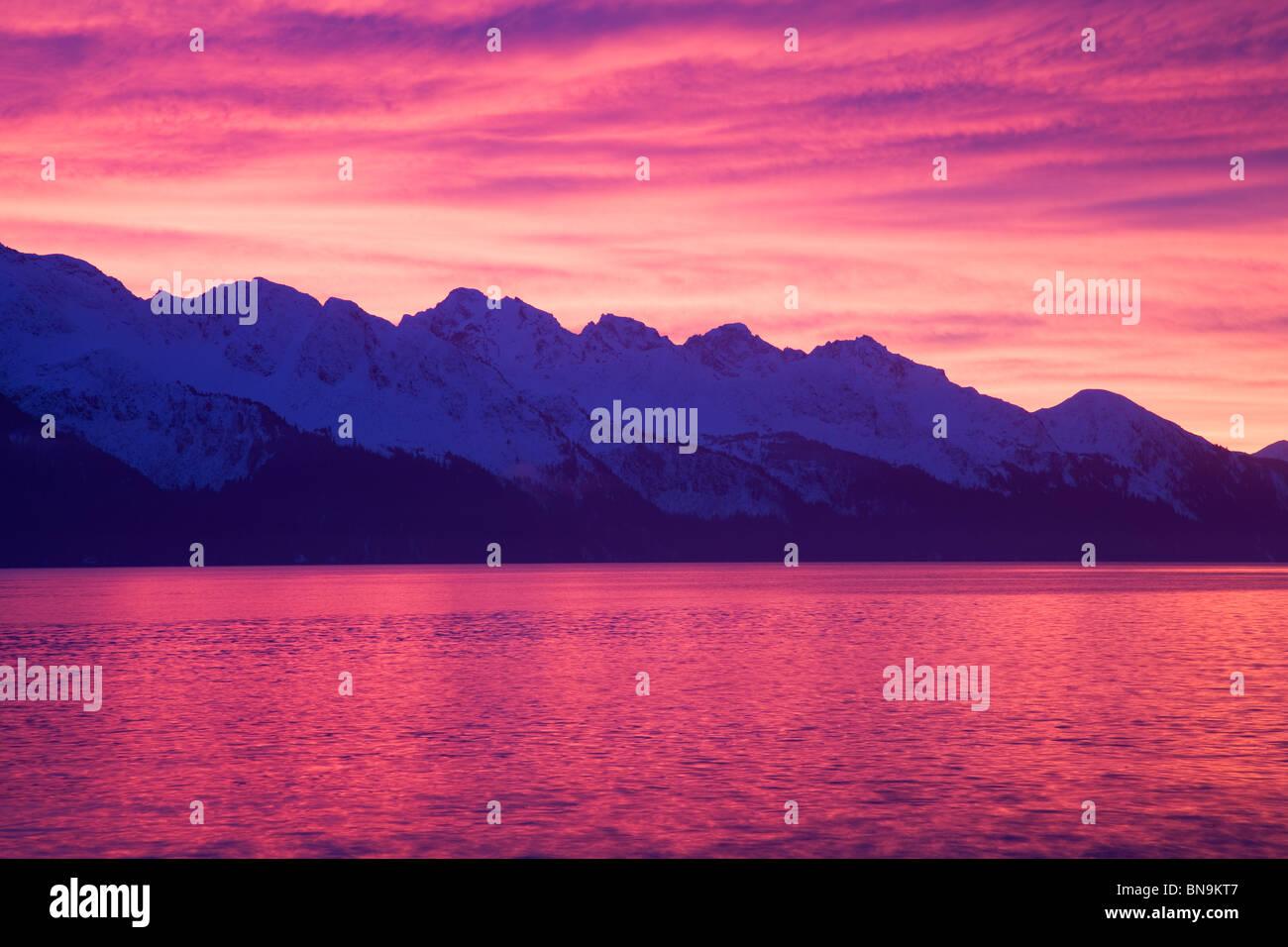 Sunrise over Resurrection Bay, Seward, Alaska. - Stock Image