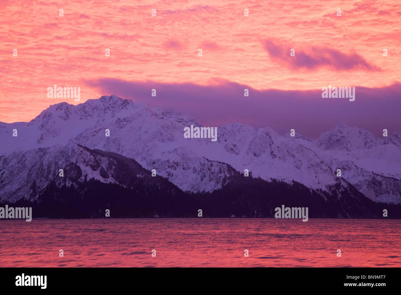 Resurrection Bay at sunrise, Seward, Alaska. - Stock Image