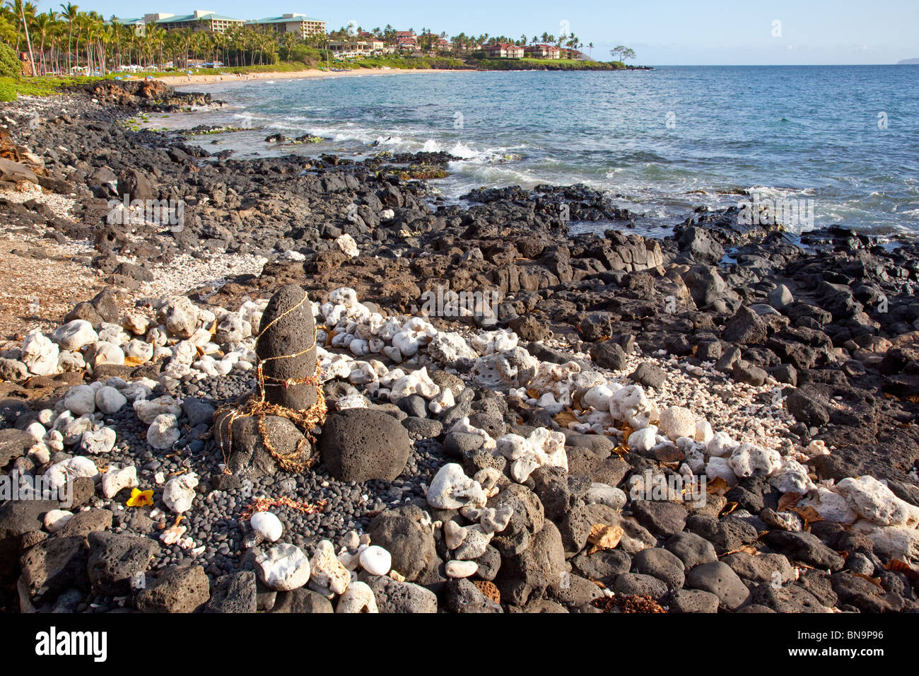 Ku'ula Stone or Fisherman's Shrine on Wailea Beach in Wailea, Maui, Hawaii - Stock Image