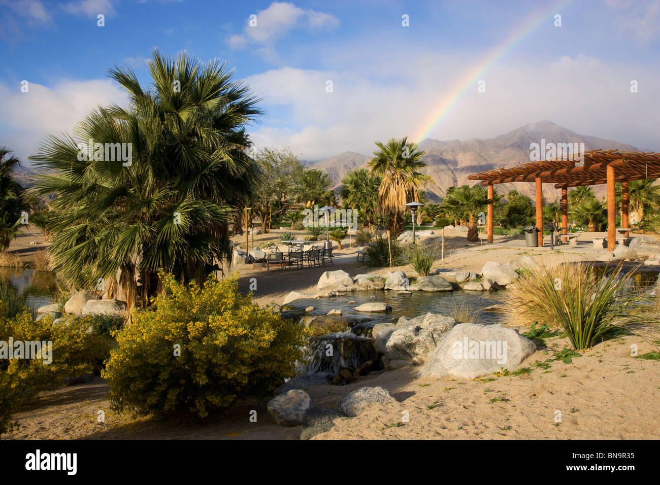 A rainbow at The Springs at Borrego RV Resort and Golf Course, Borrego Springs, California. - Stock Image
