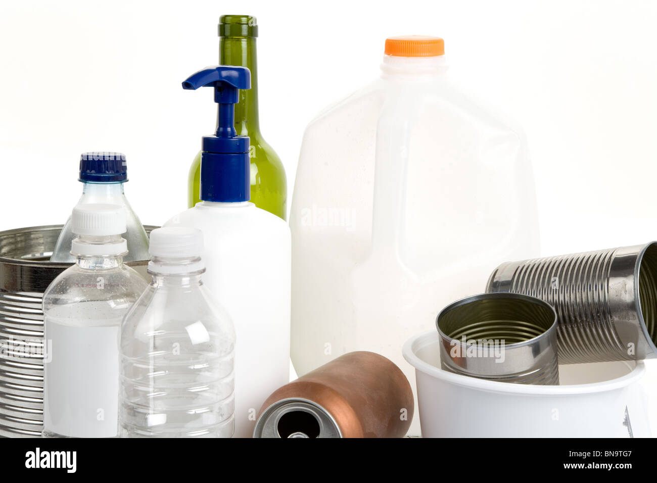 Plastic Bottle, Can, Glass, concept of recycling - Stock Image