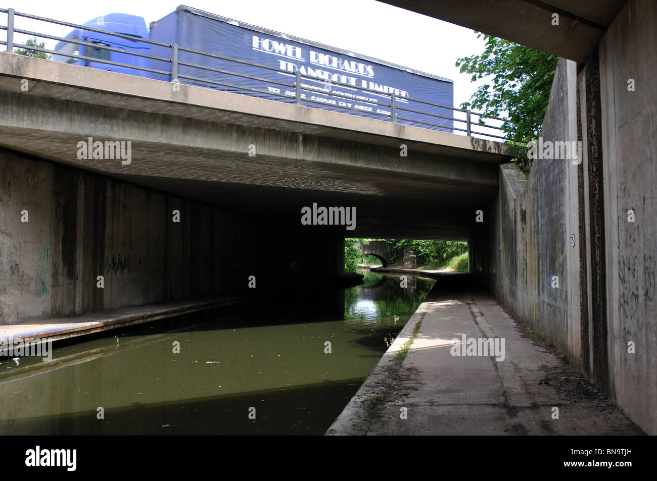 M42 motorway crossing Grand Union Canal at Copt Heath, West Midlands, England, UK Stock Photo