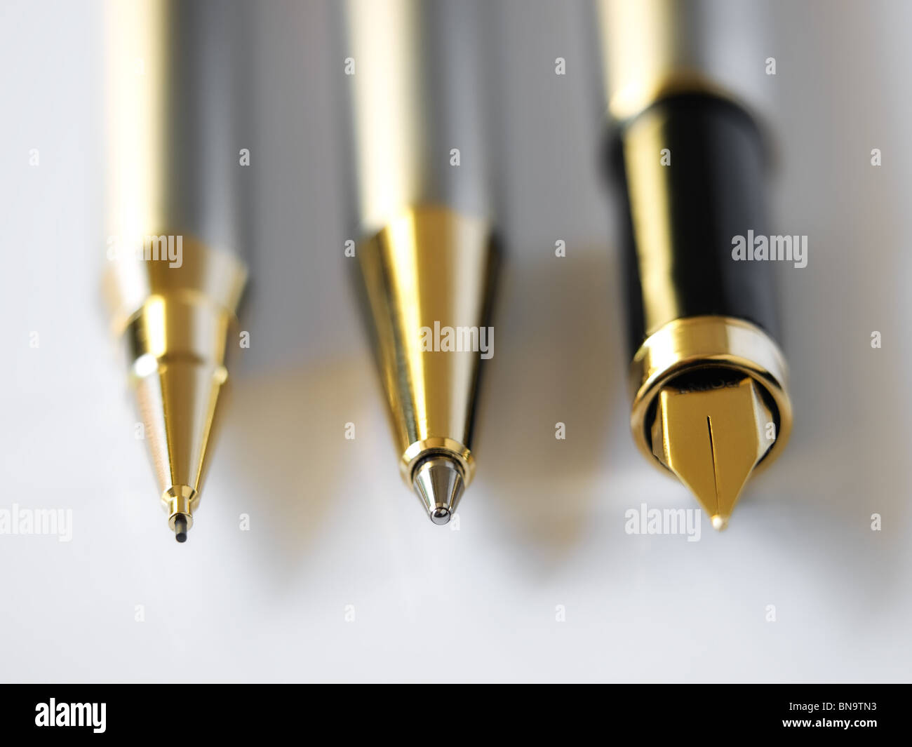 Closeup Three Common Types Pens Stock Photos Closeup Three Common