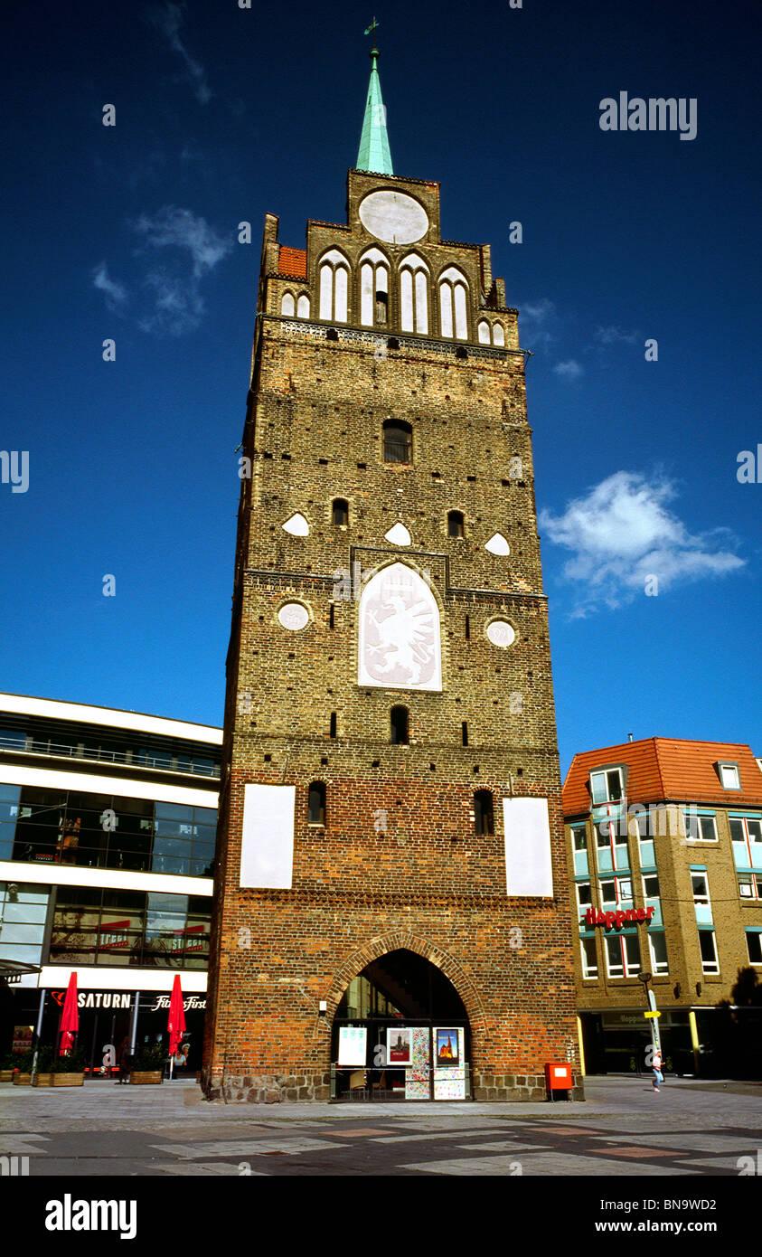 Medieval brick gothic Kröpeliner Tor in the German city of Rostock. - Stock Image