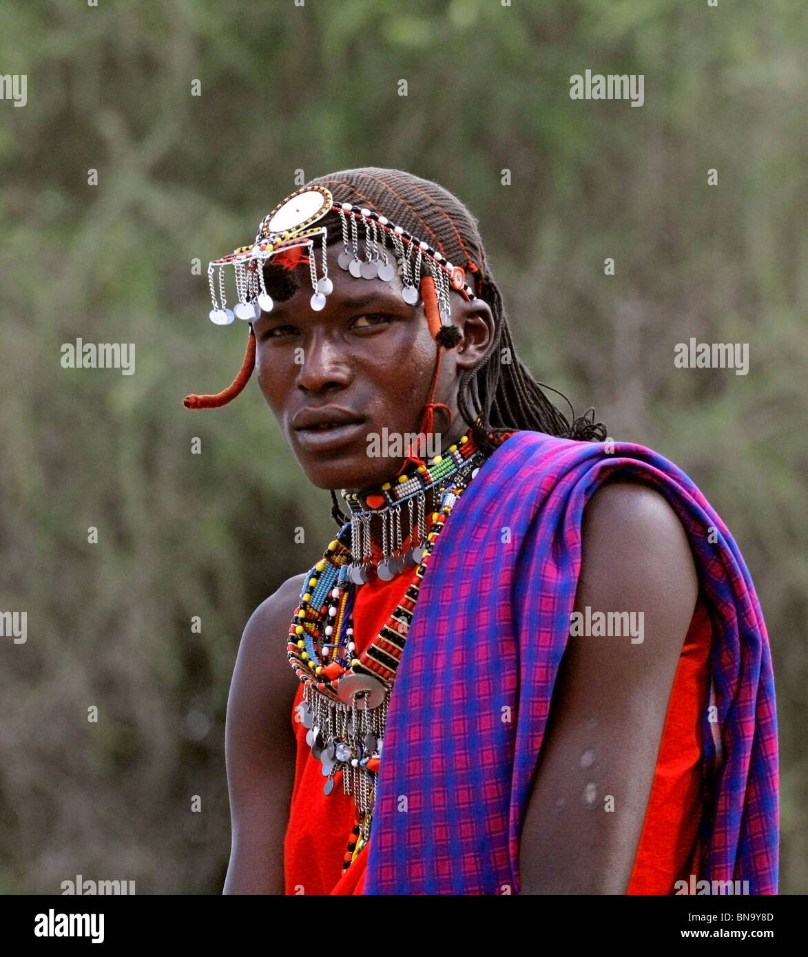 A handsome Masai warrior portrait shot taken in Masai Mara National Reserve , Kenya - Stock Image