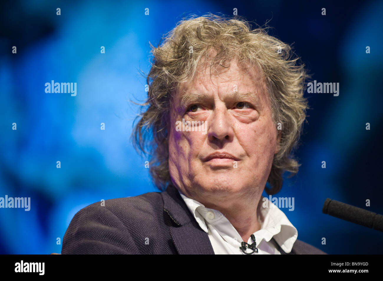 British playwright Sir Tom Stoppard pictured in conversation at Hay Festival 2010 Hay on Wye Powys Wales UK Stock Photo