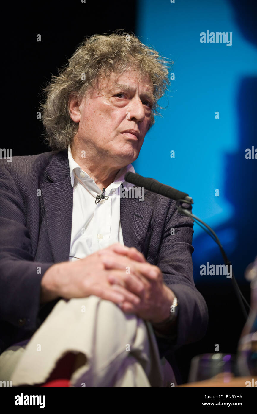 British playwright Sir Tom Stoppard pictured in conversation at Hay Festival 2010 Hay on Wye Powys Wales UK - Stock Image