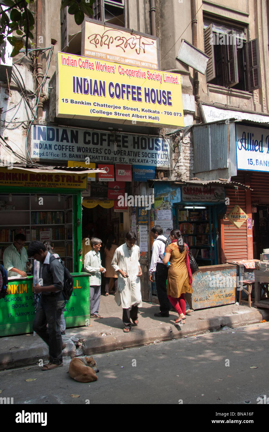 Entrance of the Indian Coffee House at College Street in Kolkata (Calcutta), West Bengal, India. - Stock Image