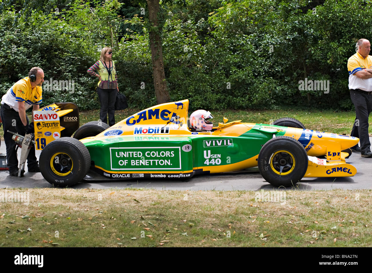 Benetton Ford B192 Formula One Racing Car at Goodwood Festival of Speed West Sussex England United Kingdom UK - Stock Image