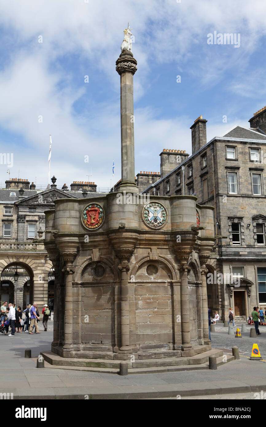 The central meeting place for all proclamations on Edinburgh's Royal Mile - Stock Image