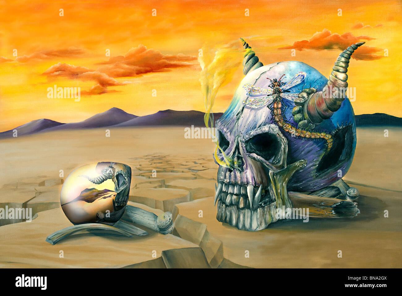 Oil painting of an egg reflecting an evil skull in a barren desert - Stock Image