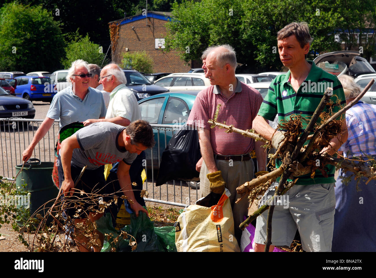 Local residents using Surrey County Council's Saturday rubbish and dustcart service for landfill, Haslemere, - Stock Image
