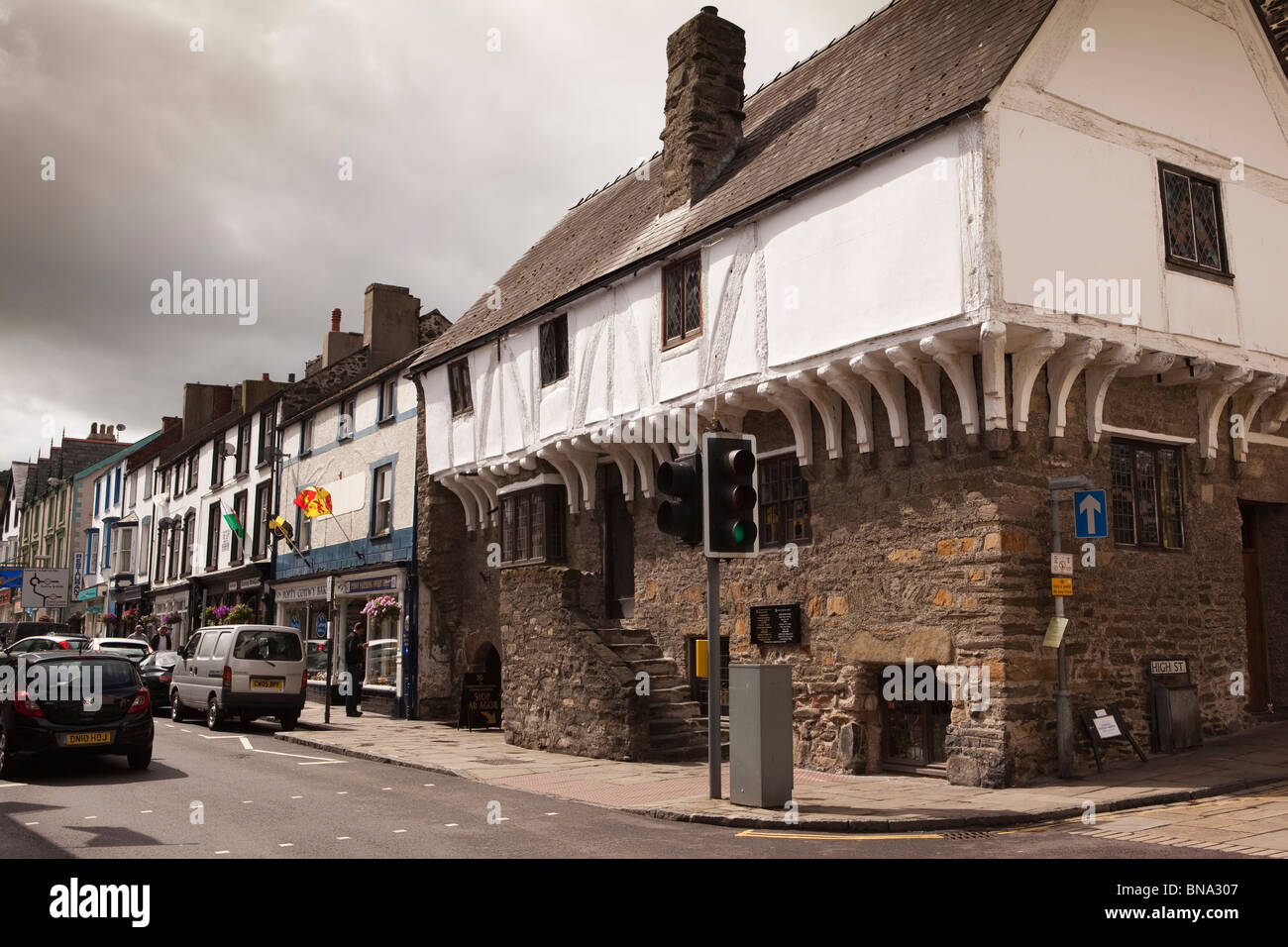 Wales, Gwynedd, Conway, Castle Street, Aberconwy House, 14th Century merchant's house (NT) - Stock Image