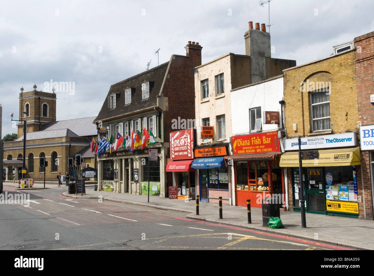 Wandsworth high Street , 'Kings Arms' pub pubic house,   All Saints church. South London UK HOMER SYKES - Stock Image