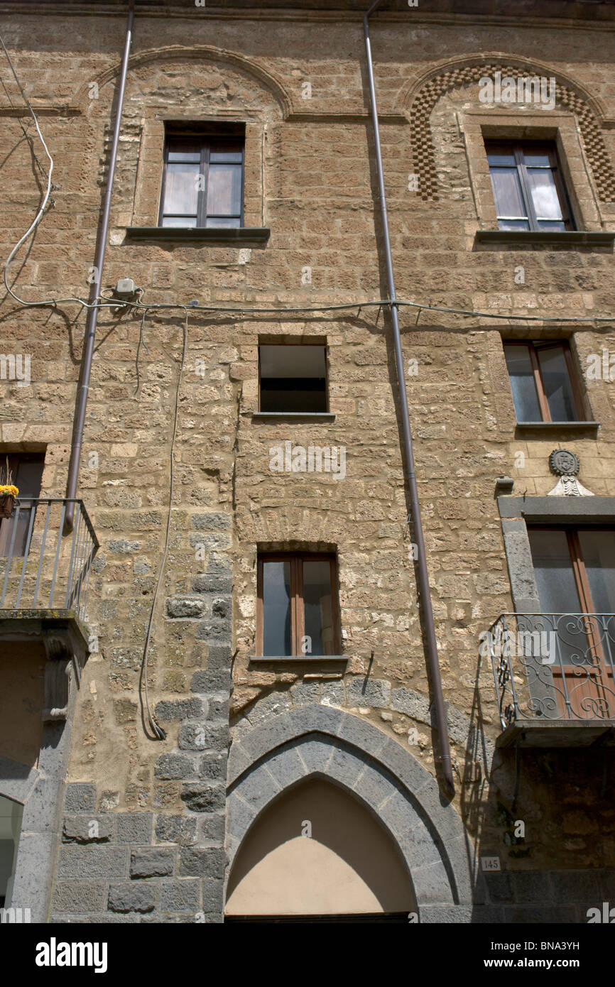 Orvieto, Italy. Buildings demonstrating the many modifications a building can undergo during many centuries. - Stock Image